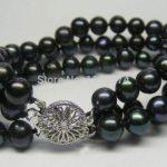 "Among the 3 ROWS 7-8MM Black all-match girl Akoya Cultured Pearl Bracelet 7.5 ""beads <b>jewelry</b> <b>making</b> YS0287"
