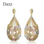Dazz Fashion Three Tones Butterfly Water Drop Shape Large Earrings Luxury Women <b>Wedding</b> Party <b>Jewelry</b> Cubic Zircon Copper Bijoux
