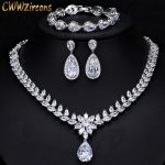 CWWZircons Elegant Women Wedding Jewellery African CZ Crystal Leaf Drop Bridal <b>Necklace</b> Bracelet And Earrings <b>Jewelry</b> Sets T294