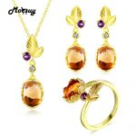MoBuy Unique Leaf 925 Sterling <b>Silver</b> Jewelry Set Oval Gemstone Citrine 3 Sets Fine Jewelry Yellow Gold Plated For Women V022ENR