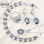 Natural Magic Rainbow Zircon Silver 925 Bridal <b>Jewelry</b> Sets Bracelets Necklace&Pendant Earrings Rings With Stones Gift Box