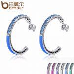 BAMOER 925 Sterling Silver Radiant Hearts 7 Color Enamel & Clear Hoop Earrings for Women Sterling Silver <b>Jewelry</b> Bijoux SCE208