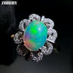 ZHHIRY Genuine Natural Fire Opal Ring Solid 925 <b>Sterling</b> <b>Silver</b> For Women Colour Gemstone Rings Fine <b>Jewelry</b>