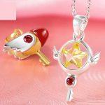 Cardcaptor Sakura Kinomoto Sakura 925 <b>Silver</b> Pendant Seal Star Key <b>Necklace</b> Sakuragi Free With Chain