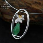 Lotus Fun Real 925 <b>Sterling</b> <b>Silver</b> Natural Aventurine Handmade Fine <b>Jewelry</b> Lotus Whispers Vase Pendant without Necklace Women