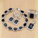 Square 925 Silver <b>Jewelry</b> Black Zircon White CZ <b>Jewelry</b> Sets For Women Earrings/Pendant/<b>Necklace</b>/Rings/Bracelet