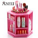 ANFEI <b>Fashion</b> New Design Rotate 360 Degrees Makeup Box Lipstick Holder Cotton Swab Box Cosmetic Brushes Case <b>Jewelry</b> Storage Box