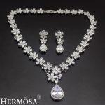 Latest Design Romantic Wedding <b>Jewelry</b> Set 925 <b>Sterling</b> <b>Silver</b> Bridal Necklace Flower Earrings Perfect Shiny Womens Gift