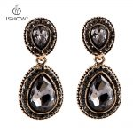 <b>Antique</b> Gold-color Drop Earring For Women Fashion <b>Jewelry</b> Vintage Crystal Round Grey Water Drop Statement Alloy Earring Boucles