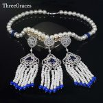 ThreeGraces <b>Handmade</b> Pearls <b>Jewelry</b> Pave Cubic Zirconia Blue Long Dangle Pearl Beads Necklace Earrings Sets For Wedding JS150