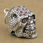 925 Sterling <b>Silver</b> Red CZ Stones Skull Mens Biker Rocker Punk Pendant 9S024(Steel <b>Necklace</b> 24inches)