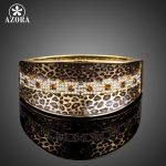 AZORA Party <b>Jewelry</b> Leopard Pattern Gold Color Stellux Austrian Crystal Cuff Bangle Bracelet TB0078