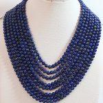Beautiful blue lapis lazuli stone natural Fashion round beads diy European chain necklace <b>making</b> 18 inches BV433