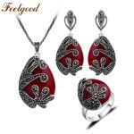 Feelgood Unique Silver Color Antique Jewellery Set Red Stone And Crystal Vintage <b>Jewelry</b> Sets For Women Wedding Party Gift