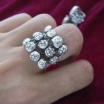 National <b>jewelry</b> Hmong <b>handmade</b> Miao silver <b>jewelry</b> Personality exaggerated hollow point ring