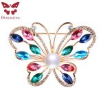 HENGSHENG Brand Colorful Butterfly Women Brooch,Real Natural Pearl With AAA Zircon,<b>Silver</b>/Rose Gold,Fashion <b>Jewelry</b> Gift Box