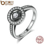 BAMOER Classic 100% 925 Sterling Silver Vintage Allure, Clear CZ Finger Ring Women Luxury <b>Fashion</b> <b>Jewelry</b> S925 PA7199