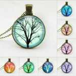 2017 New Design life tree <b>jewelry</b> family tree necklace long chain necklace glass cabochon <b>antiqued</b> bronze pendant necklace women