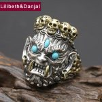 2017 New 925 <b>Sterling</b> <b>Silver</b> Ring Men <b>Jewelry</b> Bless Lucky Buddha Blue turquoise Ring Adjustable Gift Fine <b>Jewelry</b> R9