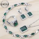 Green Cubic Zirconia Ladies Silver 925 <b>Jewelry</b> Sets Earrings/Pendant/Necklace/Rings/Bracelets For Women Fashion 2018 Gift Box