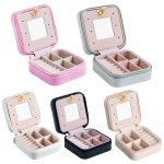 New type Portable Leather <b>Jewelry</b> Box Makeup Case Cosmetics Beauty Organizer Container Boxes Birthday Gift Travel <b>Supplies</b>