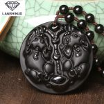 A natural counter genuine male and female matte Obsidian Double brave lucky pendant <b>jewelry</b> wholesale <b>supply</b> Made in China