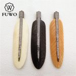 FUWO Natural Ox Bone Carved Feather CZ Pave Pendant High Quality Black Gun Plated DIY <b>Jewelry</b> Necklace Making <b>Supplies</b> PD1009