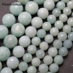 Natural Pure color Faceted Amazonite Stone Round Loose Beads 4mm 6mm 8mm 10mm 12mm DIY <b>Jewelry</b> Making <b>Supplies</b>