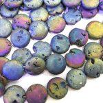 20mm Titanium Rainbow Druzy Beads strand 10pcs Round Disc Metallic Agate Quartz Druzy Drusy Geode Beads <b>Supplies</b> Black Gold