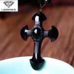 Counter genuine wholesale <b>supply</b> of men and women natural matte Obsidian Cross Pendant Necklace Crystal <b>Jewelry</b>