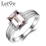Leige Jewelry Natural Morganite Engagement <b>Ring</b> for Women Pink Gemstone Promise <b>Ring</b> <b>Silver</b> 925 Fine Jewelry Emerald Cut