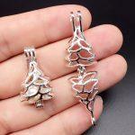 10pcs Bright Silver Hollow Christmas Tree <b>Jewelry</b> Making <b>Supplies</b> Pearl Beads Cage Pendant Essential Oil Diffuser Trendy Locket