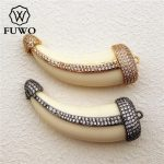 FUWO Natural Ox Bone Horn CZ Pave Pendant High Quality White Bone Carved DIY <b>Jewelry</b> Necklace Making <b>Supplies</b> PD1012