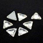 Tri-angle Shape Crystal Clear sew on buttons Silver base crystal glass stone 2holes.12mm 16mm 22mm