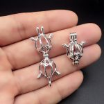 10pcs Bright Silver Creative Flying Angel <b>Jewelry</b> Making <b>Supplies</b> Pearl Beads Cage Pendant Essential Oil Diffuser Trendy Locket