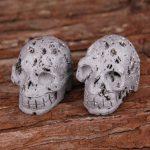 1PCS Sculpture Skull Head Druzy Natural Stones,Silver Titanium Geode Skull Carving <b>Jewelry</b> <b>Supplies</b>,Raw Drusy Skull Decor