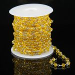 Yellow Glass Quartz Faceted Rondelle Beads Chains,Plated Silver Wire Wrapped Link Making Necklace Rosary <b>Supplies</b> Wholesale Bulk