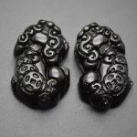 Natural Black Obsidian Stone Carved Pixiu Money Coin Pendant in Pairs Fashion <b>Jewelry</b> Making <b>Supplies</b>