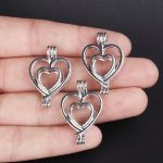 10pcs Silver Heart Pearl Cage <b>Jewelry</b> Making <b>Supplies</b> Bead Cage Pendant Essential Oil Diffuser For Pearl Jewellry