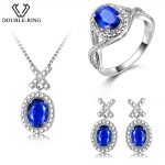 DOUBLE-R <b>Silver</b> 925 <b>Earrings</b> Ring Created Oval Sapphire Gemstone Pendant Necklace Zircon Women Wedding Jewelry Sets