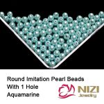 Aquamarine Color Resin Round Pearls Nail Beads With Hole 100g/bag Round DIY Nail Art <b>Supplies</b> 3D <b>Jewelry</b> Charms Decorations