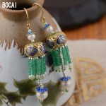 S925 <b>sterling</b> <b>silver</b> <b>earrings</b> wholesale silk fringe <b>Earrings</b> Handmade traditional crafts Beijing DIY explosion models