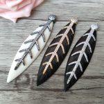 5Pcs Unique ox bone Pendant,Fishbone shape CZ zircon Micro pave crystal Charm DIY <b>Jewelry</b> necklace making <b>supplies</b> PD703