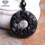 Natural Genuine men's and women's wholesale <b>supply</b> Obsidian dance Pendant Necklace <b>Jewelry</b> Counter Obsidian lucky money in China