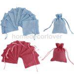 10pcs Linen Jute Sack <b>Jewelry</b> Pouch Drawstring Gift Bags Wedding Favor