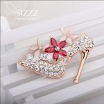 Hot 2016 Fashion <b>jewelry</b> High-heeled Shoes Bow Rhinestone Brooch Lapel Pin Men Hijab Wedding Crystal Brooches For Women