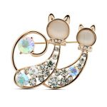 Top selling cute double cat shape rhinestones women brooches <b>jewelry</b> brooches for charming gift 5018-1-70