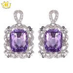 Hutang 6.08ct Amethyst Vintage Style <b>Earrings</b> Solid 925 <b>Sterling</b> <b>Silver</b> <b>Earring</b> Fine Natural Gemstone Jewelry Women's Gift Party