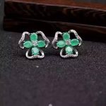 natural green emerald <b>earrings</b> 925 <b>silver</b> Natural gemstone <b>earring</b> women personality Elegant fashion Clover <b>earrings</b> for party