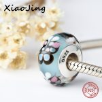 Silver 925 sparkling Murano glass beads butterfly charms suitable for original pandora bracelet fashion <b>jewelry</b> making <b>supply</b>